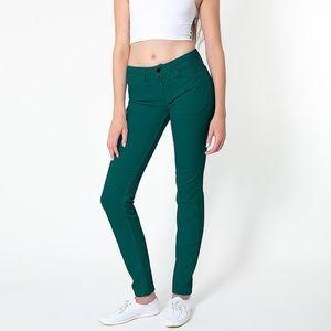 American Apparel stretch denim side zip pant